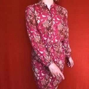 Mercy berry red and floral wool dress